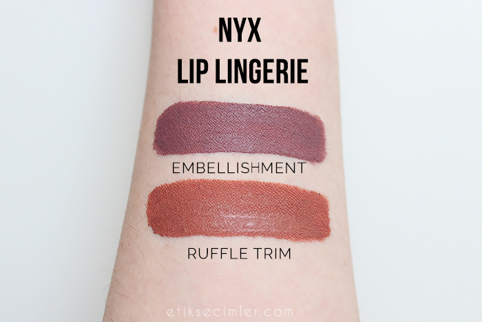 NYX lip lingerie likit mat rujlar ruffle trim ve embellishment swatch