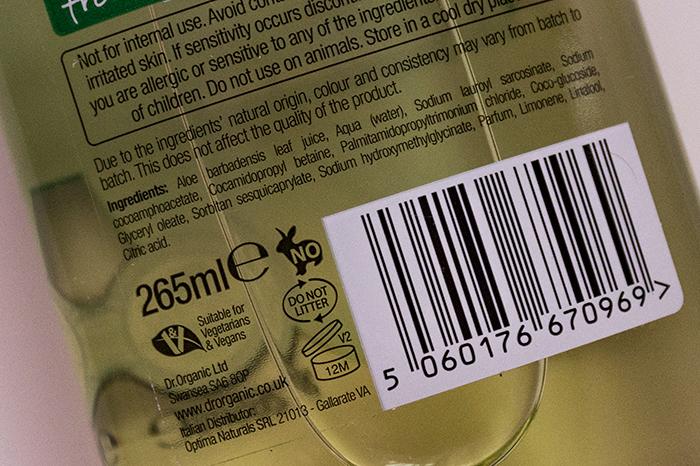 dr organic aloe vera şampuan içerik